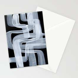 Ghostly Minimalist Abstract Painting Black And White Maze Brush Strokes Stationery Cards