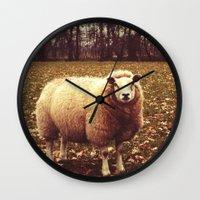 lamb Wall Clocks featuring Lamb  by Vic Torys