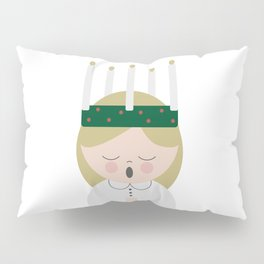 Cartoon girl with candles at Saint Lucy at Christmas Pillow Sham