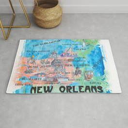 New Orleans Louisiana Illustrated Map with Main Roads Landmarks and Highlights Rug