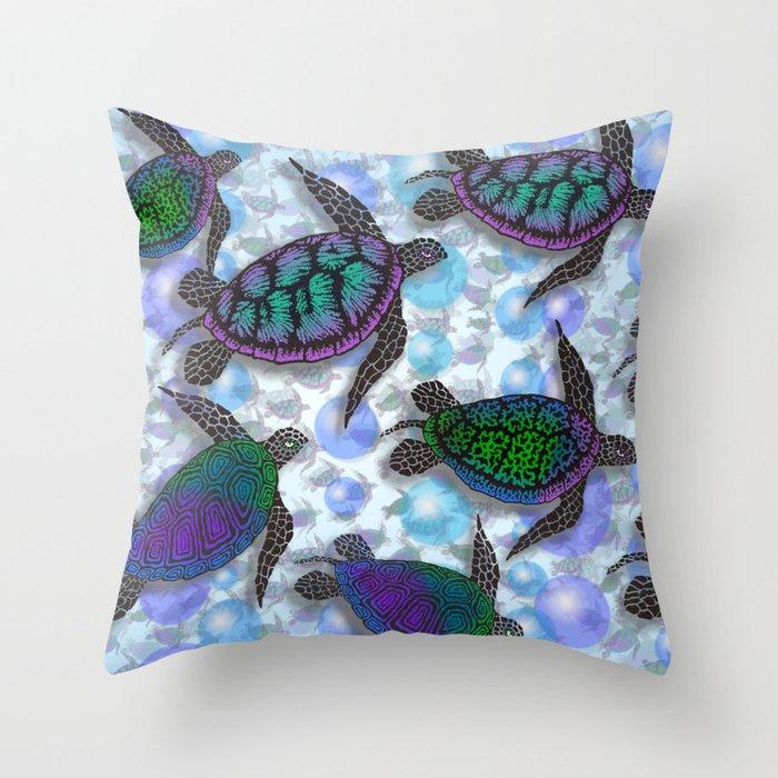 SEA OF TURTLES Throw Pillow
