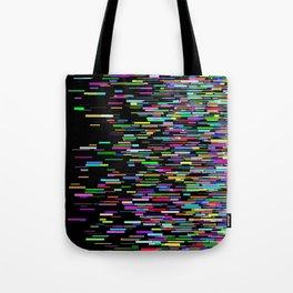rainbow bars zooming across black space Tote Bag