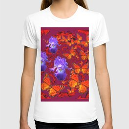 Lilac Iris  Monarch Butterflies Burgundy Color T-shirt