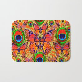 Mardarin orange & green peacock eyes art Bath Mat