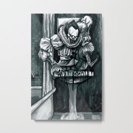 Clown in the Drain Metal Print