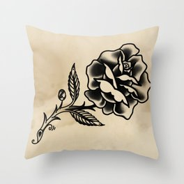 American Traditional Rose Throw Pillow