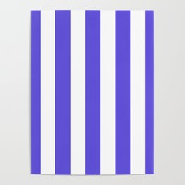 Majorelle blue - solid color - white vertical lines pattern Poster