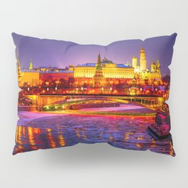 Moscow Kremlin And The Moscow River In The Winter Night Pillow Sham