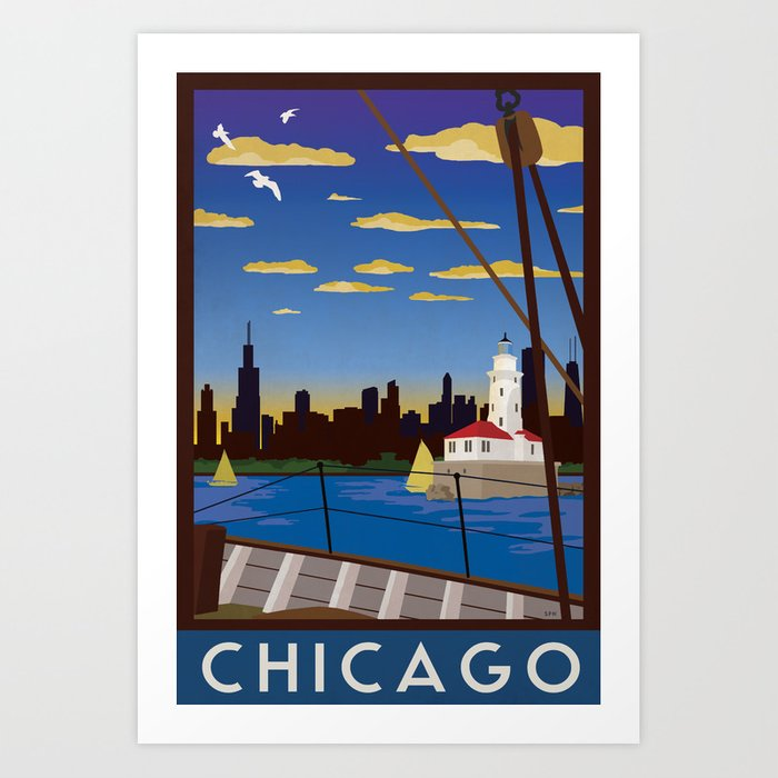Chicago Art Deco Sail Travel Poster Art Print By Forge22 Society6