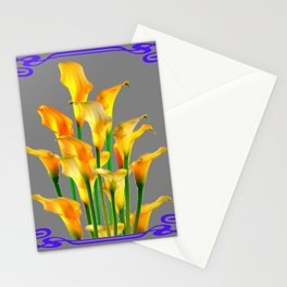 PURPLE-GREY ART NOUVEAU GOLDEN CALLA LILIES Stationery Cards