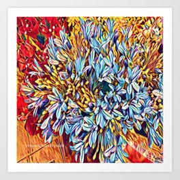 Blues Bouquet with Yellow and Red Art Print