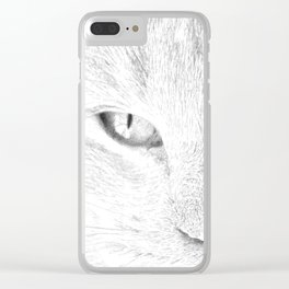 sandy, close up, drawing b&w Clear iPhone Case