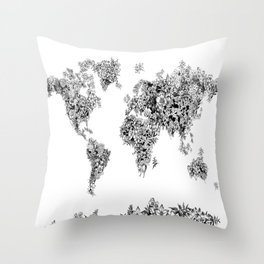 floral world map black and white Throw Pillow