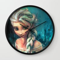 alicexz Wall Clocks featuring The Storm Inside by Alice X. Zhang