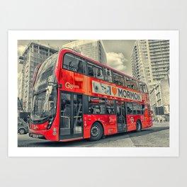 London Mormon Red Bus Art Print