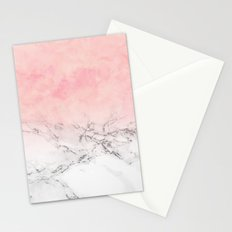 Modern blush pink watercolor ombre white marble Stationery Cards