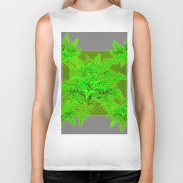 REFRESHING  NATURAL GREEN FERNS  GREY ART Biker Tank