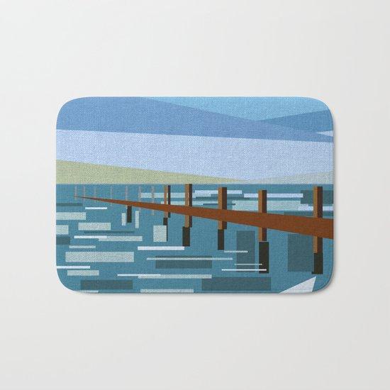 LOOKING AT THE SEA (abstract) Bath Mat