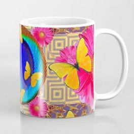 Fuchsia  Pink Yellow Butterflies Blue Patterns Coffee Mug
