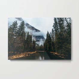 Misty Yosemite River Metal Print