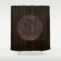 skyrim Shower Curtains featuring Shield's of Skyrim - Solitude by VineDesign