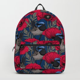 Fairy wren and poppies Backpack