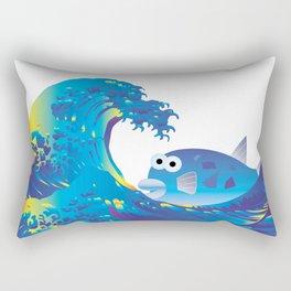 Hokusai Rainbow & Globefish  Rectangular Pillow