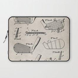 Golf Clubs Patent - Golfing Art - Antique Laptop Sleeve