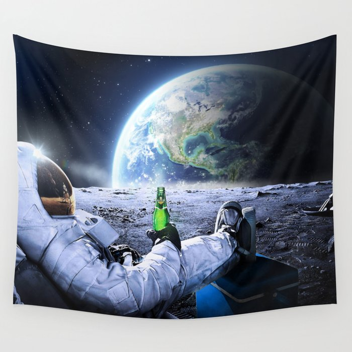 Astronaut on the Moon with beer Wall Tapestry