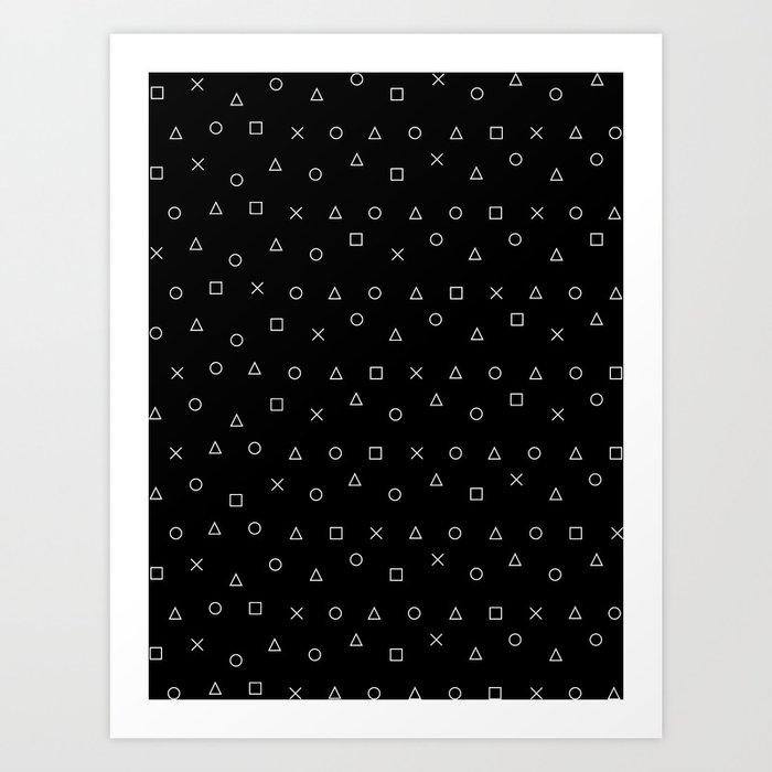black gaming pattern - gamer design - playstation controller symbols Kunstdrucke