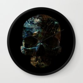 Blue Skull News Wall Clock