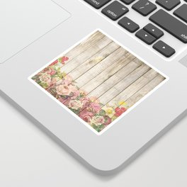 Vintage Rustic Romantic Roses Wooden Plank Sticker