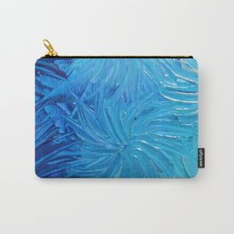 WATER FLOWERS 2 - Stunning Ocean Beach Waves Floral Abstract Acrylic Painting Turquoise Blue Navy Carry-All Pouch