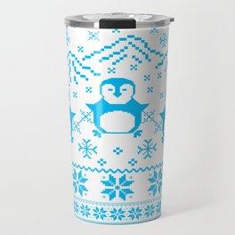 Cute Blue Scandinavian Penguin Holiday Design Travel Mug