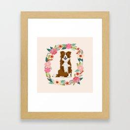 border collie brown floral wreath dog gifts pet portraits Framed Art Print