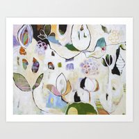 "flora bowley Art Prints featuring ""Letting Go"" Original Painting by Flora Bowley by Flora Bowley"