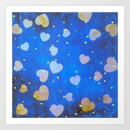 Hearts Dancing in the Blue Sky Pattern Art Print