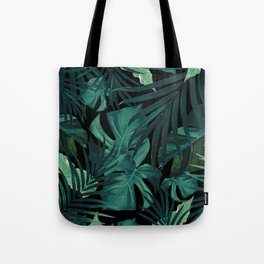 Tropical Jungle Night Leaves Pattern #1 #tropical #decor #art #society6 Tote Bag