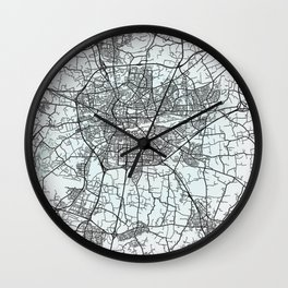 Rennes, France, White, City, Map Wall Clock