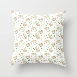 Modern green pink brown watercolor sloth floral pattern Throw Pillow
