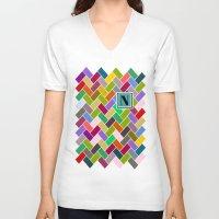 monogram V-neck T-shirts featuring N Monogram  by mailboxdisco
