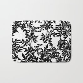 Toile Black and White Tangled Branches and Leaves Bath Mat