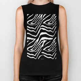 Zebra Black and White #2 Biker Tank