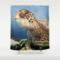 sea turtle Shower Curtains featuring Sea Turtle by nelee
