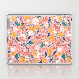Floral Burst of Dinosaurs + Unicorns Laptop & iPad Skin