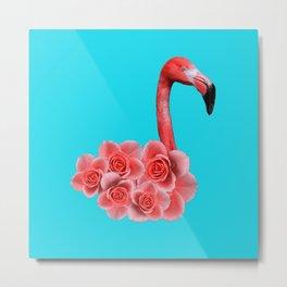 Flamingo with flowers Metal Print