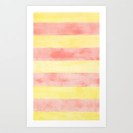 Pink and yellow stripes Art Print