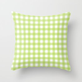 Green gingham pattern Throw Pillow