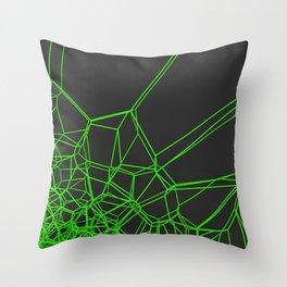 Green voronoi lattice on black background Throw Pillow