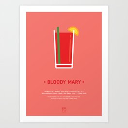 Bloody Mary Cocktail Recipe Art Print Art Print